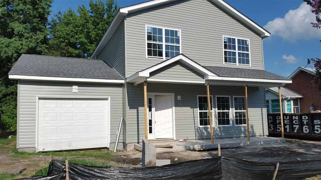 Front of new construction house located at 2703 Pinewell St, Portsmouth Va, 23704