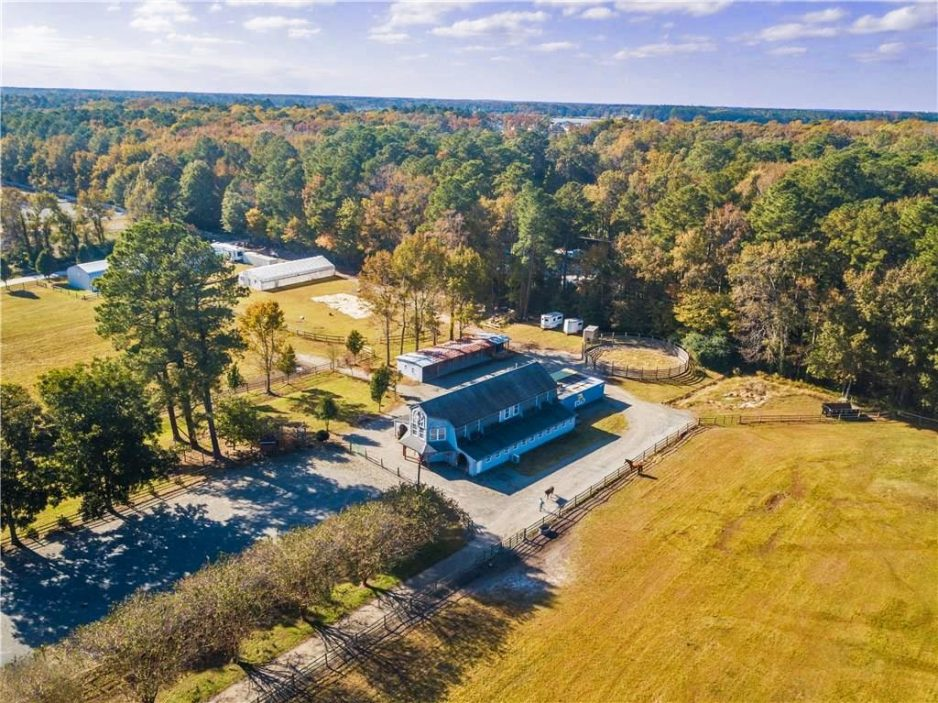 Aerial view of farm located at 2376 London Bridge RD, Virginia Beach, VA 23456