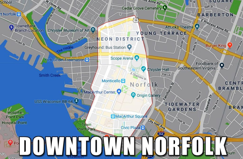 Map of Downtown Norfolk