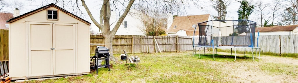Back yard view of property located at 3582 Marvell Road, Virginia Beach, Virginia 23462