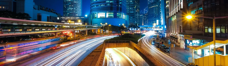 Time-lapse traffic in the city at night