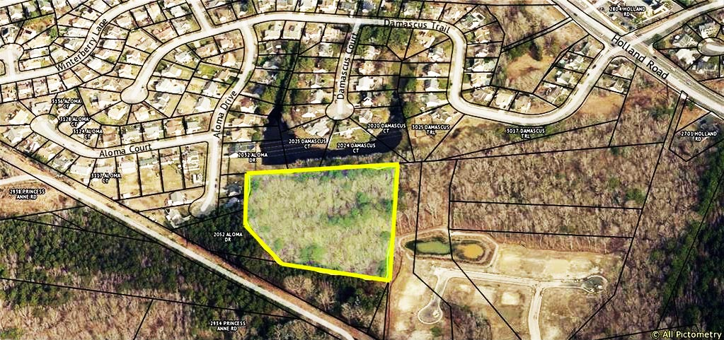 Birdseye view of property located at 5.7ac Bluegrass Lane, Virginia Beach, Virginia 23453