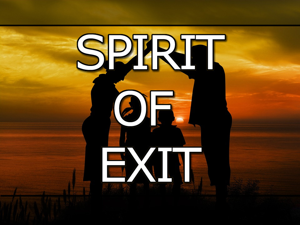 """People on a shoreline at sunset with text overlay """"Spirit Of EXIT!"""""""