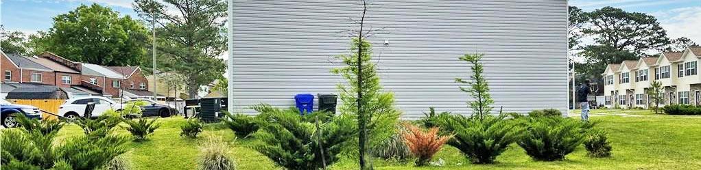 Side yard of property located at 6600 Pryer Lane, Norfolk, Virginia 23502