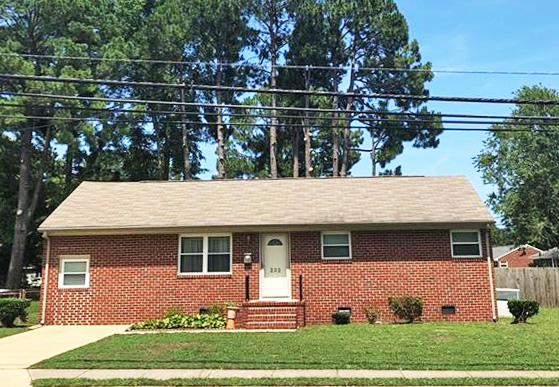 Front of property located at 232 Martha Lee Drive, Hampton, Virginia 23666