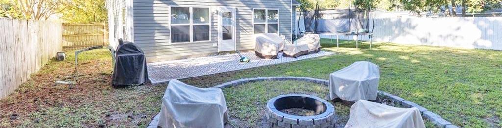 Back yard at property located at 2509 Pringle Drive, Chesapeake, VA 23325